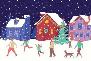 Christmas House Lights Composition vector