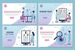 Conjunto de páginas de destino de oftalmología. vector