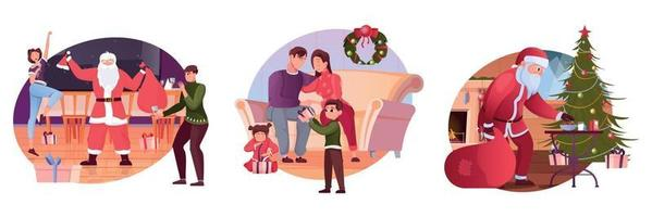 Christmas Flat Compositions vector