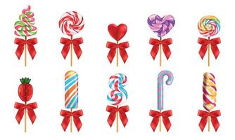 Lollipop With Red Bow Realistic Set vector