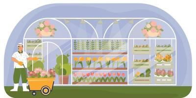 composición plana de vivero de plantas vector