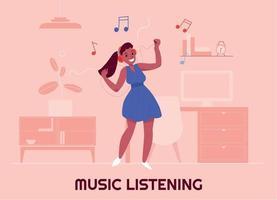 Ilustración de vector de escucha de música
