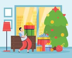 Christmas Tree Gifts Composition vector
