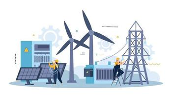 Electricity Power Flat Composition vector