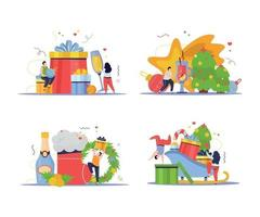 Christmas New Year Compositions vector