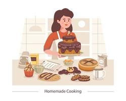 Homemade Cooking Sweets Composition vector