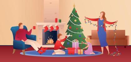 Family on Christmas Eve vector