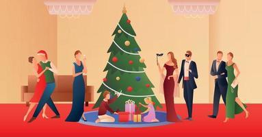 People celebrating Christmas vector