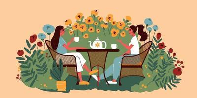 Garden Tea Drinking Composition vector