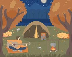 Camping at night in the autumn forest. A woman is playing the guitar. vector