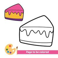 Coloring book, slice cake vector image