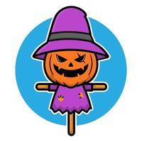 Scary halloween scarecrow illustration vector