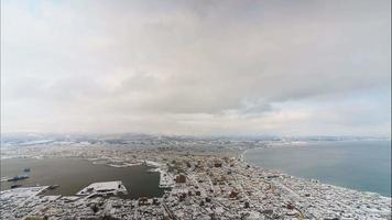 bellissimo paesaggio dall'alto della città di hakodate nell'hokkaido in giappone video