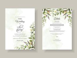 Greenery floral hand drawn wedding invitation template vector