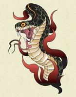 snake tattoo old school vector