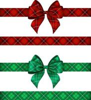 green and red tartan bows with ribbons vector