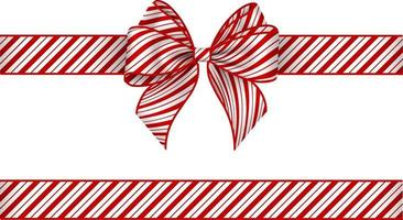 Christmas bow and ribbon with red stripes. bow with candy cane texture vector