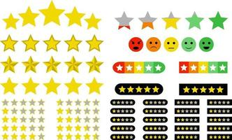 Set of rating elements. Stars and emoticons vector