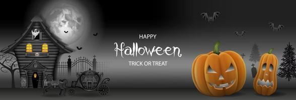 halloween banner with haunted house and pumpkins vector