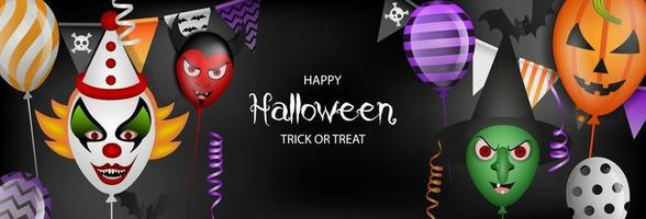 happy halloween banner with party balloons, streamers and pennants vector