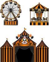 halloween luna park elements. circus, ferris wheel and carousel vector