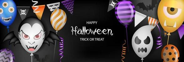 happy halloween banner with party balloons, pennants and streamers vector