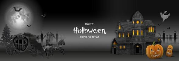 halloween banner with haunted house, pumpkins and old carriage vector