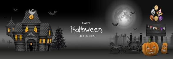 halloween banner with haunted house, pumpkins and party balloons vector