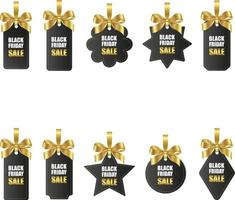 set of black friday price tags with gold bows and ribbons vector