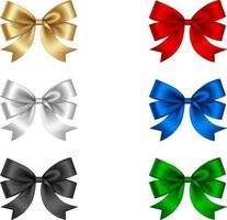 set of isolated colorful bows vector