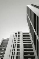 Modern multistory building in back and white photo
