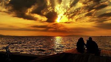 People Silhouette near the Seaside video