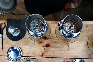 preparación de café, paso a paso foto