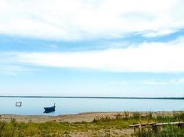 Beautiful view of the lake shore photo