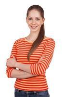 mujer joven en una camiseta a rayas foto