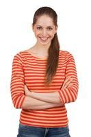 chica alegre en una camiseta a rayas foto