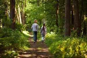 niño con niña caminando en el bosque de verano foto