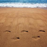 Human foot prints in the sand photo