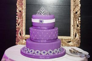 Sweet sixteen birthday cake on a cake stand photo
