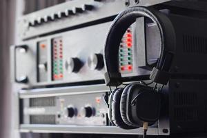 Headphone on control audio panel photo