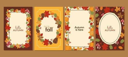 Autumn with Floral Arrangement Cards Collection vector