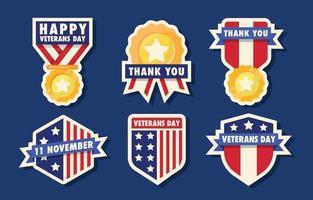 colección de pegatinas del día de los veteranos vector