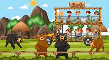 Safari at day time scene with many kids watching bear group vector