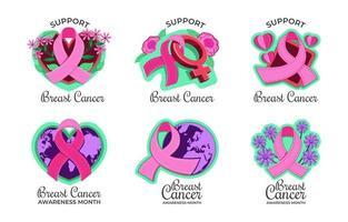 colección de pegatinas de concienciación sobre el cáncer de mama vector