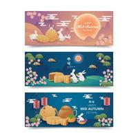 Mid Autumn Mooncake Festival Banner Collection vector
