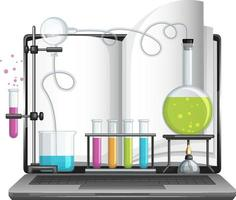 Laptop computer with science laboratory equipment vector