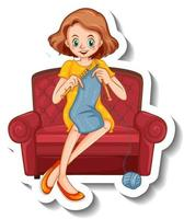 A sticker template with a woman knitting and sitting on sofa vector