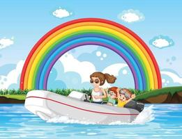 A woman driving speedboat with children in the river vector