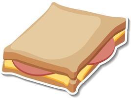 Ham cheese sandwich sticker on white background vector