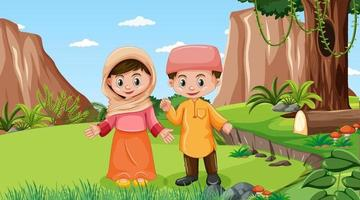 Nature scene with muslim kids wears traditional clothes vector